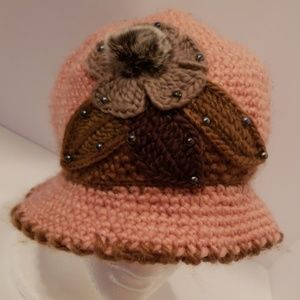Accessories - Pink and brown knit floral sweater hat